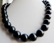 12mm Black Agate Onyx Gemstone Round Ball Beads Necklace 18'' JN171