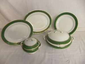 C4 Imperial Porcelain Wedgwood - ivory with green gilded band, antique 9A1B