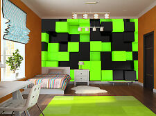 3D Black-Green Cubes  Wall Mural Photo Wallpaper GIANT DECOR Paper Poster