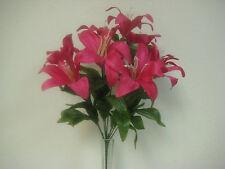 2 Bushes BEAUTY Tiger Lily Artificial Silk Flowers Bouquet 1 x 10 4069BT