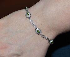 "925 Sterling Silver Peridot & .01ct Diamond Bracelet 7.5"""