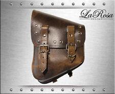 La Rosa Distress Brown Leather Rivet Harley Softail Left Swing Arm Saddle Bag
