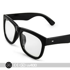 Thick Rimmed Large Frame Nerd Clear Glasses Sunglasses Geek Trendy + Case S123