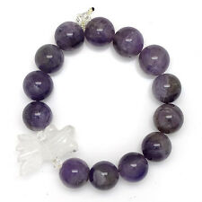 * Chinese New Year Feng Shui * Amethyst  & Clear Quartz Goldfish Bracelet