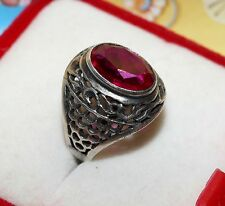 Amazing Big RUBY stone Size 7.5 Ring Silver USSR Antique