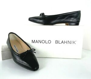 Manolo Blahnik in Box 7 US 37 EU Black Leather Ballet Flat Shoes Bow Runway Auth