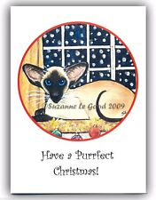 New Siamese Cat Glitter Christmas Cards From Original Painting Suzanne Le Good