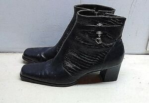 Coldwater Creek Tiana Black Leather Booties Ankle Boot Zipper Women's Shoe 8M 39