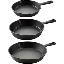 MainStays Cast Iron Skillet 3 Piece Set Stove Oven Fry Pans Pots Cookwar Grill