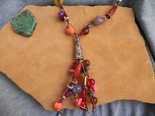 Coldwater Creek~Red, Purple, Pink, Brass & Silver Tone Long Necklace 35""