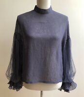 Salin Blouse Shirt Top Long Sleeve Blue Sheer balloon Sleeves Women's Size M