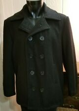 Authentic Mariner 2000 Double Breasted Peacoat Overcoat Black Mens Sz 36 Small