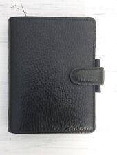 Leather Filofax Mini Finsbury Black Case Organiser Small Wallet