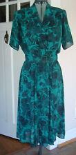 Vintage 80s Positive Influence Green Black Roses Full Sweep Dress Belt Pads Vnck