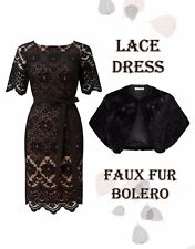 BNWT NEW 20 Petite Jacques Vert Nude Black Lace Dress & Faux Fur Bolero Jacket