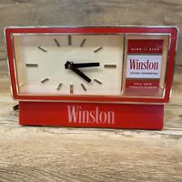 Vintage Advertising Winston Cigarettes Lighted Electric Clock Tobacco Needs Bulb