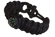 Wilderness Survival Paracord Bracelet 17 Pc Kit Black EDC Father's Day Dad Gift