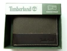 Timberland Men's Canvas Leather Wallet Bifold Dark Brown New w Tag Gift Box