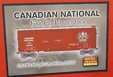 N Micro-Trains 4 car Runner Pack - Canadian National RR 40' Box Car 99300011