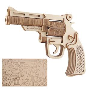 3D DIY Wooden Puzzle Revolver Gun Assembly Model Children Boy Teens Toys Gift UK