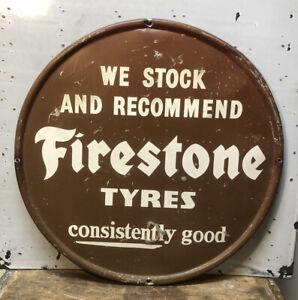 "Vtg 1950s Firestone Tyres Advertising Sign 16"" Metal Tires Gas & Oil Station"