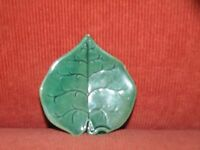 "ANTIQUE MAJOLICA GREEN LEAF BUTTER PAT 3 1/4"" LONG"