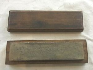 Vintage Natural Washita Oilstone Sharpening Stone in Wooden Box