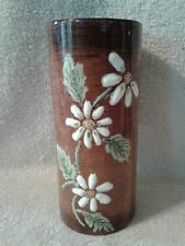 Brown Stoneware Flower Vase With White Daisies Hand Painted 7.5in Tall 3.5 Wide