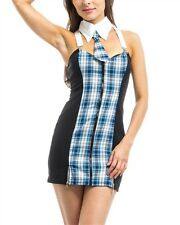 NEW! FORPLAY Very SEXY Blue PLAID Suspender DRESS ~ Naughty SCHOOLGIRL ~ S / M