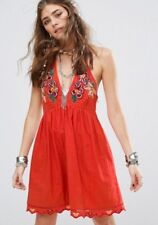 FREE PEOPLE Love and Flowers Mini Dress T-Back Embroidered Coral Size S $128 NWT