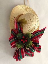 "Floral 3.5"" Straw Hat Figurine Ornament"