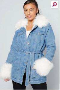 New Womens  Studio Faux Fur Trim Denim Jacket Sz 16/18 (L5)