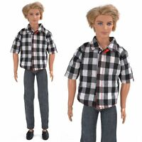 Handmade Plaid Shirt Pants Trouser Set Casual Outfit Clothes for Barbie Ken Doll