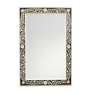 Bone Inlay Hand Painted Mirror Frame Floral Design Handmade Decor Multicolored