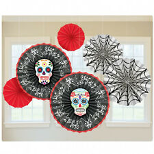 Halloween Decorations Day of the Dead 6 Hanging Paper Fans Skulls & Rose Gothic