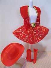 VTG Barbie 80s Cowgirl Cowboy Western STAMPIN Fashion CLothes RED Boots Vest HAT