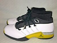 "Men's Sz 8 Nike Air Jordan 17 XVII Low White Black ""Lightning"" Yellow 303891-101"