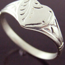 FS44 GENUINE REAL 925 STERLING SILVER LADIES ANTIQUE HEART DESIGN SIGNET RING P