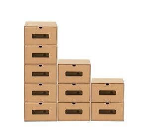 10 Schubladen Boxen mit Fenster Aufbewahrung Schuhe Karton Pappe Kiste stapelbar