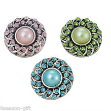 3 Pcs Silver Tone Mixed Round Rhinestone Pearls Flower Snap Button Click 2cm