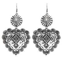 Rockabilly Retro Silver Cowgirl Earrings Copper  Concho Southwest Western Heart