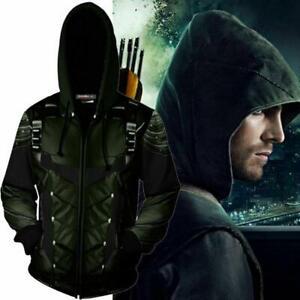 Movie Green Arrow 3D Hoodie Sweatshirt Cosplay Costume Zip Coat Jacket Outwear