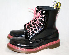 DR. MARTENS Pascal Wo's 8 Eu 39 Black & Pink Patent Lace Up Ankle Boots