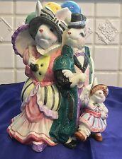 Fitz And Floyd 1995 Bunny Vase  Dad Mom And Child With Balloons Sri Lanka