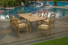 9 PC DINING TEAK STACKING CHAIRS PATIO FURNITURE POOL - GRANADA DINING DECK C01
