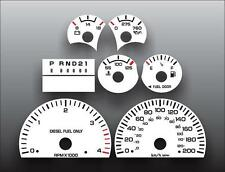 1999-2002 Dodge Ram Diesel METRIC KPH KMH Cluster White Face Gauges Fits Cummins
