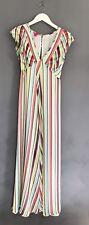BNWOT MONSOON FUSION Candy Stripe Boho Rainbow Summer MAXI DRESS UK 10 RRP-£85!
