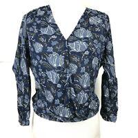 Lucky Brand Wrap Top Blue womens XS Floral Print Balloon Sleeve Peasant Shirt