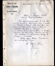"""LIMOGES-MONTJOVIS (87) CHEF de GARE """"CHEMIN de FER de PARIS A ORLEANS"""" en 1911"""
