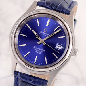 OMEGA SEAMASTER COSMIC2000 AUTOMATIC DATE BLUE DIAL MEN'S WATCH